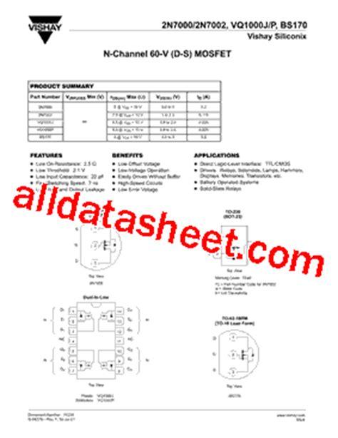 transistor bs170 datasheet bs170 datasheet pdf vishay siliconix