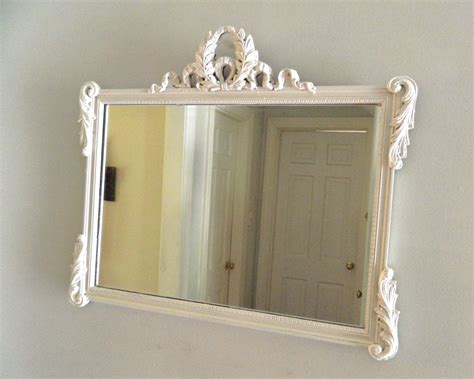 vintage white shabby chic mirror wood frame ornate large