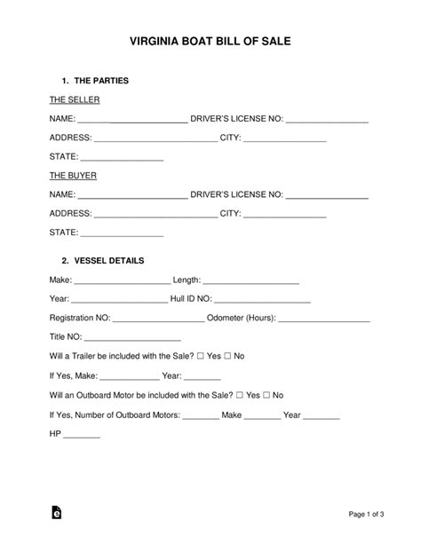 free virginia boat bill of sale form word pdf eforms - Boat Sales Va