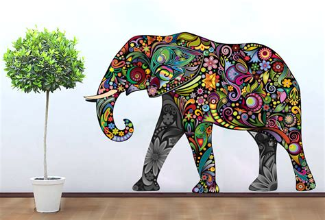 colorful wall stickers colorful elephant floral sticker wall print 183 moonwallstickers 183 store powered by