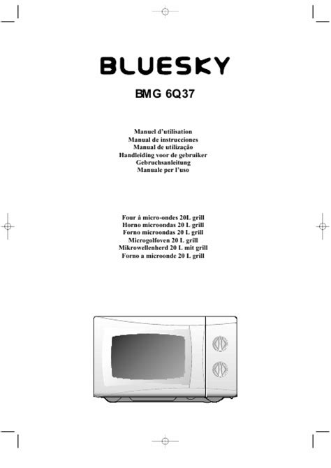 Microwave Bluesky user s guide bluesky bmg 6q37 grill microwave oven