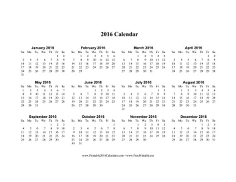 2016 Calendar One Page Calendar 2016 Printable One Page W Holidays Calendar