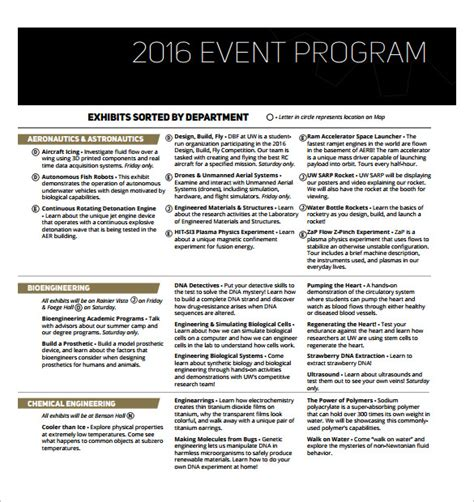 event programs templates sle event program template 17 free documents in pdf