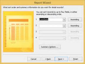 eventtype layout how to start the report wizard in access 2016 dummies