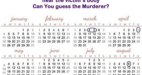 Calendar Killer Riddle Best Brain Teasers Calendar Murder Mystery Riddle