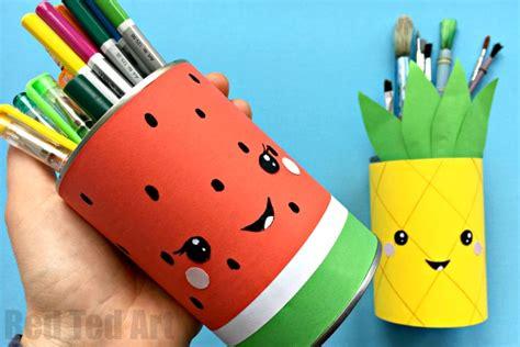 Kids Desk Area Summer Pencil Holders Red Ted Art S Blog