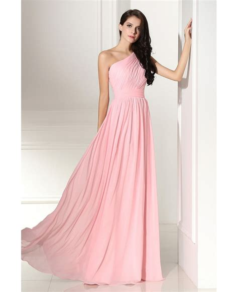 Simple Elegant Pleated One Shoulder Pink Formal Dress #LG0304   GemGrace.com