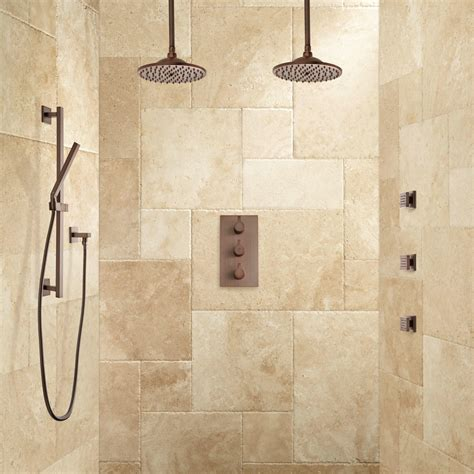 Showers Bathroom Labelle Thermostatic Dual Shower System Shower And 3 Jets Bathroom