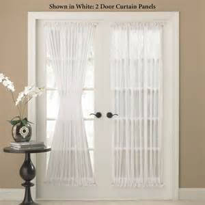 Sheer Door Curtains Reverie Snow Voile Semi Sheer Door Panels