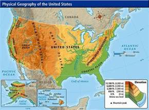 geographical map of geography physical map of the united states of america