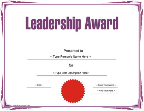 certificate of leadership template education certificates leadership award template