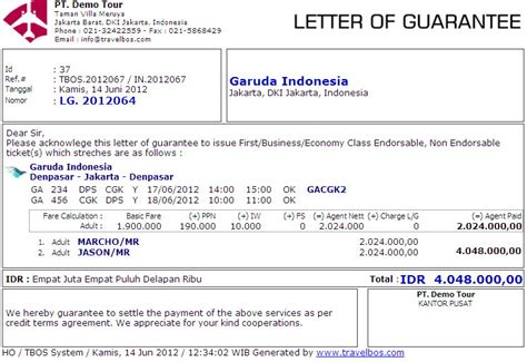 Hotel Letter Of Guarantee Travelbos Front Office Aplikasi Travel Program Travel