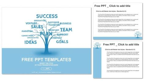 Concept Blue Word Tree Leadership Marketing Or Business Powerpoint Templates Word Presentation Templates