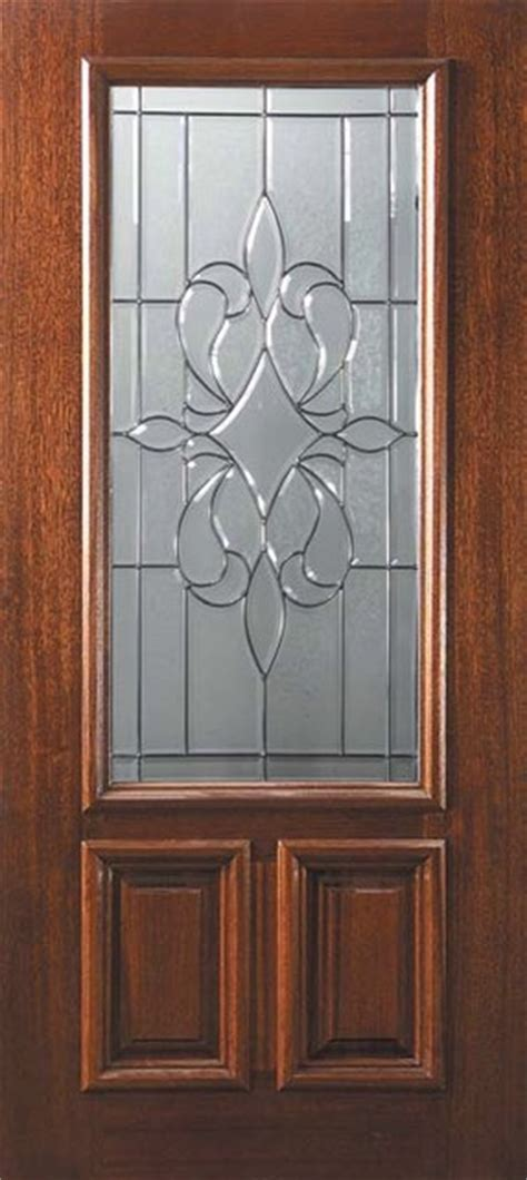 Exterior Slab Doors With Glass Slab Entry Single Door 80 Mahogany New Orleans 2 Panel 2 3 Lite Glass Mediterranean Front