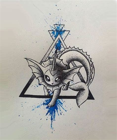 vaporeon tattoo dotwork watercolor vaporeon design