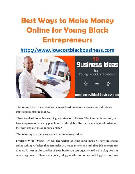 How To Make Money Online At A Young Age - ppt best ways to make money online for young black entrepreneurs powerpoint