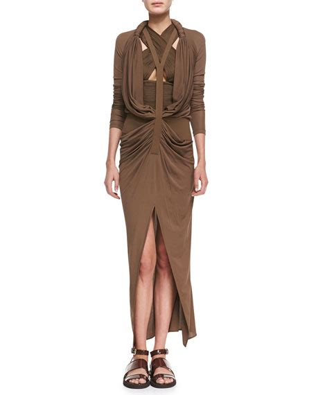 y drape dress givenchy long y front drape dress
