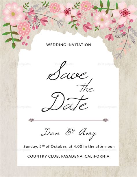 Pink Floral Save The Date Card Design Template In Psd Word Publisher Illustrator Indesign Save The Date Indesign Template