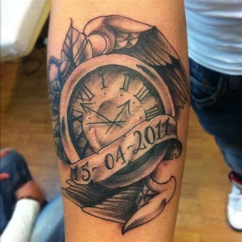 tattoo angel and clock memorial banner with clock in angel wings tattoo