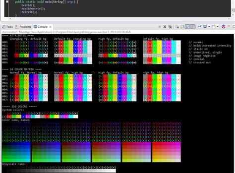 java color codes an eclipse console view that respects ansi color codes