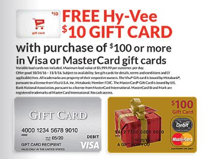 visa gift card fine print hy vee free 10 gift card with 100 visa mc gift card