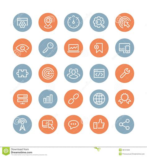 design service icon vector seo services flat icons set royalty free stock images