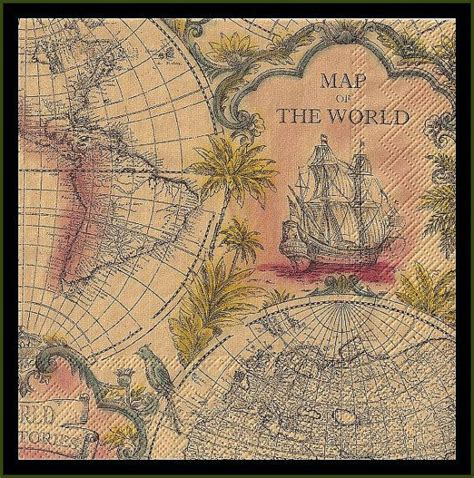 Decoupage Map - 10 map of the world paper decoupage napkins use for