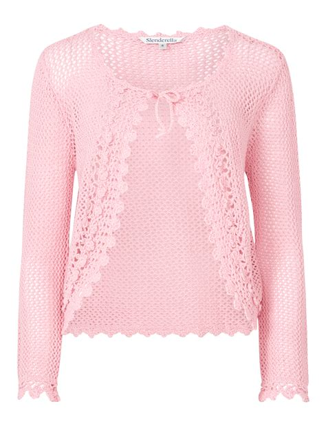 Bj 9728 Pink Knit Cardigan bed jacket knitted cotton crochet edge slenderella tie front house coat ebay