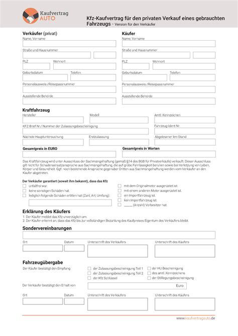Kaufvertrag Auto Kostenlos Runterladen by Kaufvertrag Downloaden