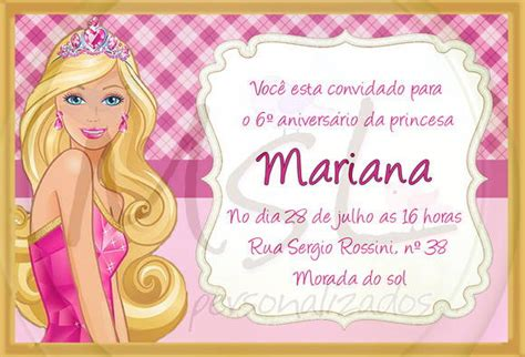 convites personalizado da barbie pictures to pin on pinterest convite barbie 10x15 msl personalizados elo7