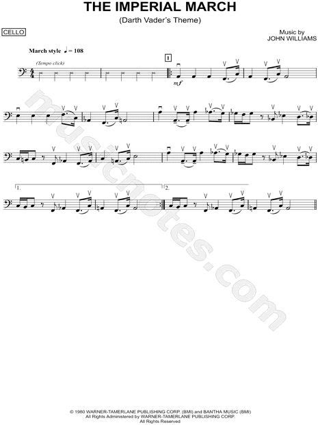 printable star wars theme song violin quot the imperial march cello quot from star wars the empire