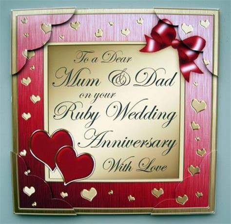 8 x 8 Mum and Dad Ruby Wedding Anniversary Topper