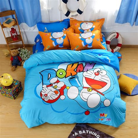 Set Bed Cover Doraemon Murah 1 polyester reactive printed bedding set bed sheet