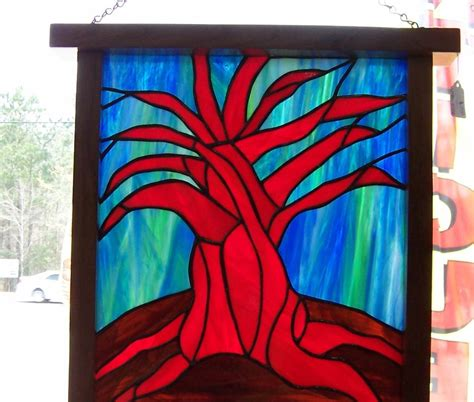 a resale made framed stained glass panel