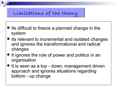 kotter model limitations change management theory of kurt lewins