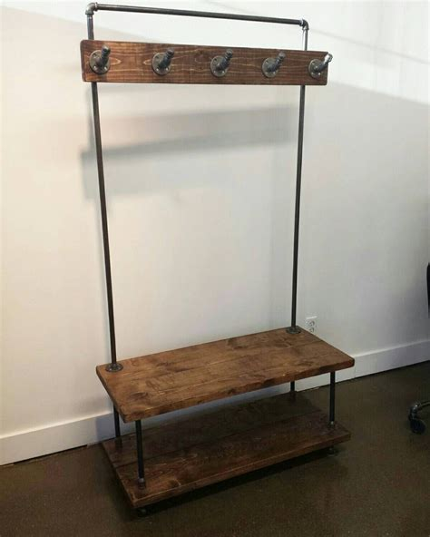 pipe bench industrial pipe and wood entry coat rack by