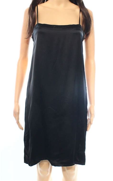 s size 38 shift solid seamed dress black