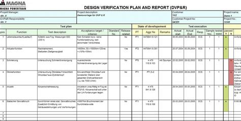 Design Verification Plan Vorlage Ecs Product Definition