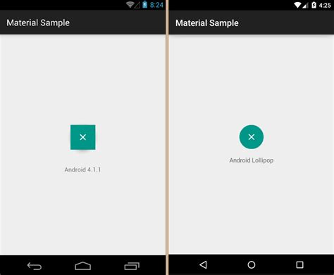 android layout rectangle android fab square on pre lollipop and without shadow