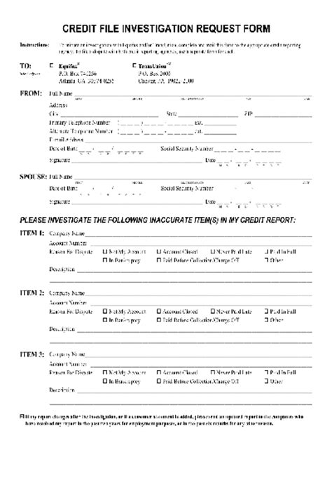 Credit Dispute Form Template Free Pdf Forms For Credit Free