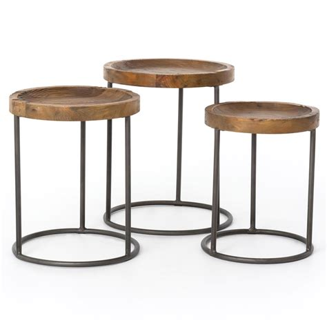 what are nesting tables loup rustic loft reclaimed iron nesting table set of 3