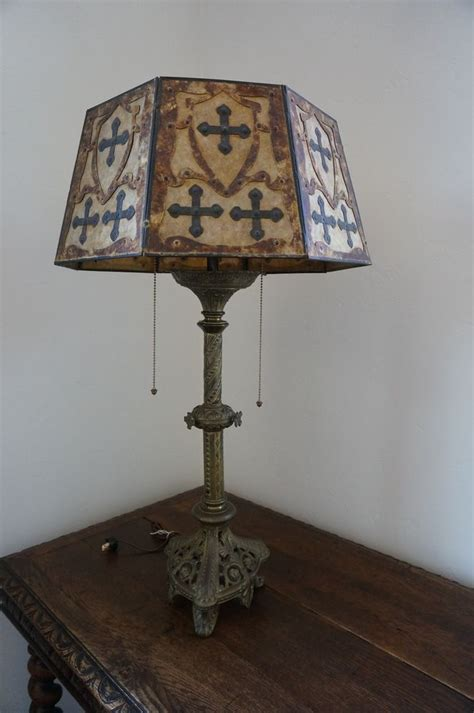 antique gothic lamp  mica shade antiques shades  lamps