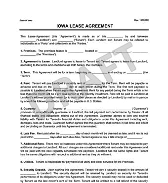 Iowa Residential Lease Rental Agreement Forms Template Free Pdf Iowa Lease Agreement Template