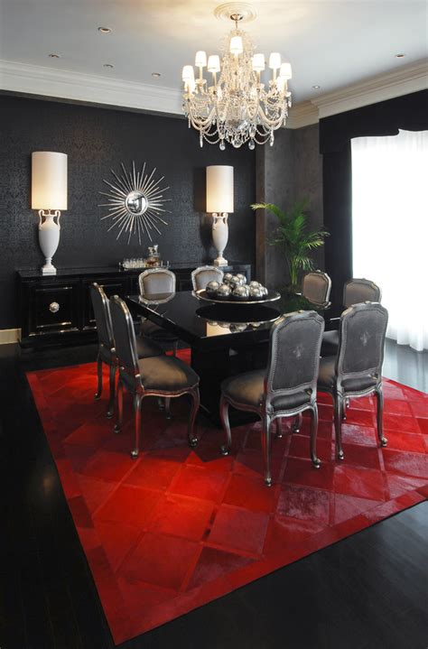 gorgeous cowhide rugs  dining room contemporary  pop