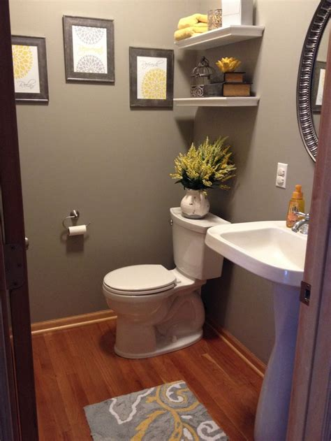 gray bathroom decor gray and yellow bathroom half bathroom pinterest