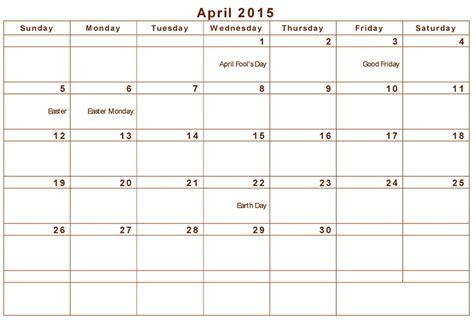Calendar 2015 April April 2015 Holidays Www Imgkid The Image Kid Has It
