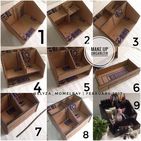 Rak Kosmetik Karton tutorial cara membuat rak make up make up organizer dari