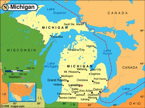 map michigan usa michigan map
