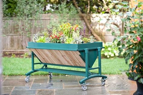 rolling raised garden beds lgarden rolling patio garden trough planters and planters