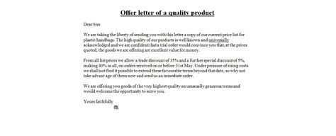 Offer Letter Product Format Business Letter Sles Offer Letter Of A Quality Product